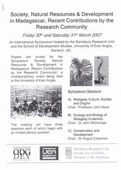 Call for Papers: Society, Natural Resources & Devlopment in Madagascar, Recent Contributions by the Research Community: Friday 30th and Saturday 31st March 2007