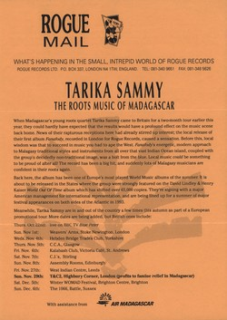 Rogue Mail: Tarika Sammy: The Roots Music of Madagascar