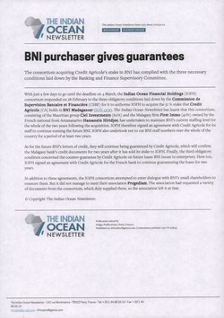BNI purchaser gives guarantees: Article from The Indian Ocean Newsletter, Issue 1375, 7 March 2014
