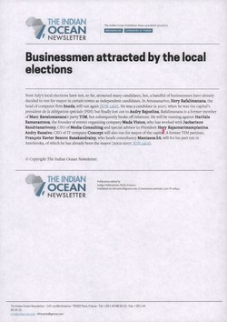 Businessmen attracted by the local elections: Article from The Indian Ocean Newsletter, Issue 1403, 15 May 2015