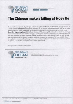 The Chinese make a killing at Nosy Be: Article from The Indian Ocean Newsletter, Issue 1241, 28 June 2008