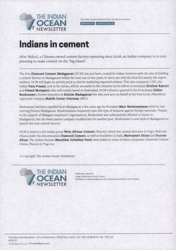 Indians in cement: Article from The Indian Ocean Newsletter, Issue 1257, 7 March 2009