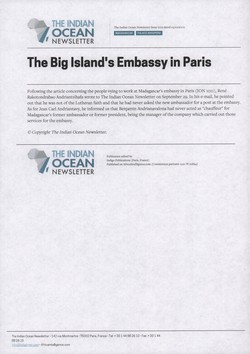 The Big Island's Embassy in Paris: Article from The Indian Ocean Newsletter, Issue 1012, 5 October 2002