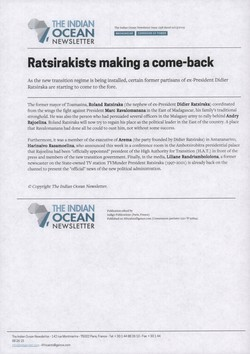 Ratsirakists making a come-back: Article from The Indian Ocean Newsletter, Issue 1258, 21 March 2009