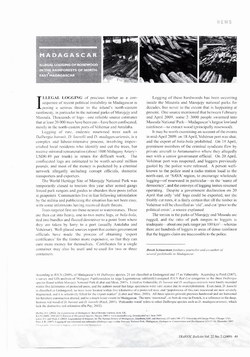 Madagascar: Illegal Logging of Rosewood in the Rainforests of North-East Madagascar: Article from TRAFFIC Bulletin vol. 22, no. 2