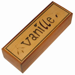 Wooden Vanilla Box: with Marquetry Decoration