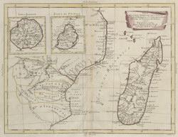 Parte della Costa Orientale dell'Africa: con I'Isola di Madagascar e le Carte particolari dell'Isole di Francia di Borbon