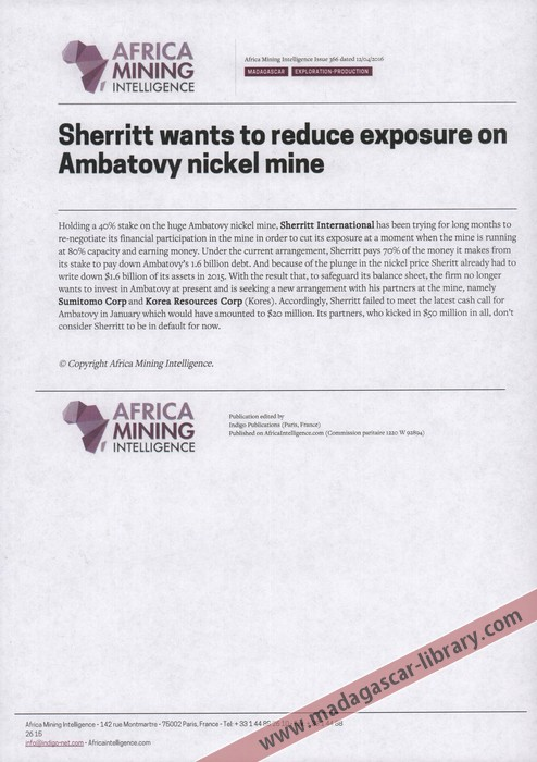 Carte Nickel Madagascar.Sherritt Wants To Reduce Exposure On Ambatovy Nickel Mine