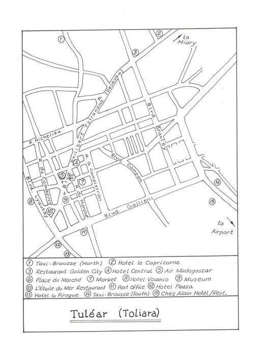 Tulear (Toliara): Original map artwork for the Bradt Madagascar g ...