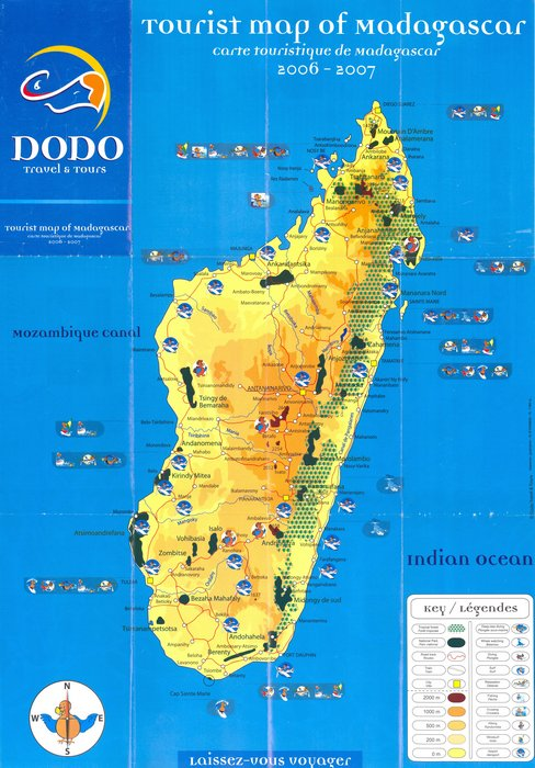 Carte Tourisme Madagascar.Tourist Map Of Madagascar Carte Touristique De Madagascar