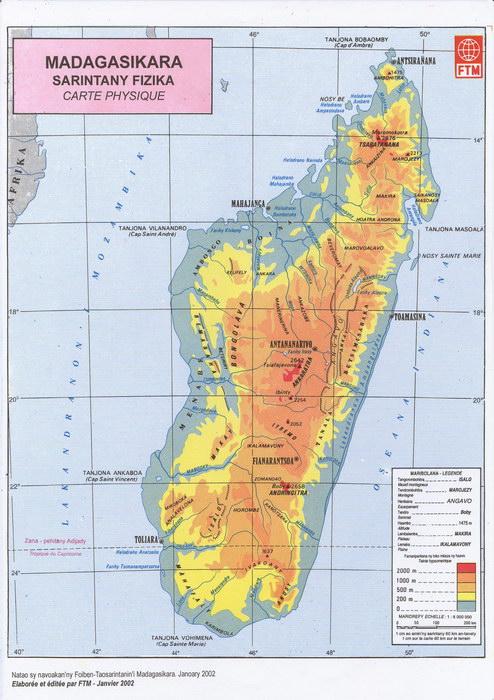 Madagasikara Sarintany Fizika Carte Physique Madagascar Library