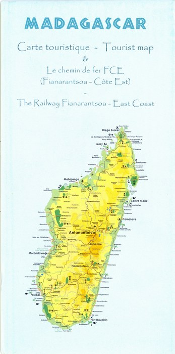 Madagascar Carte touristique Tourist map Le chemin de fer FC